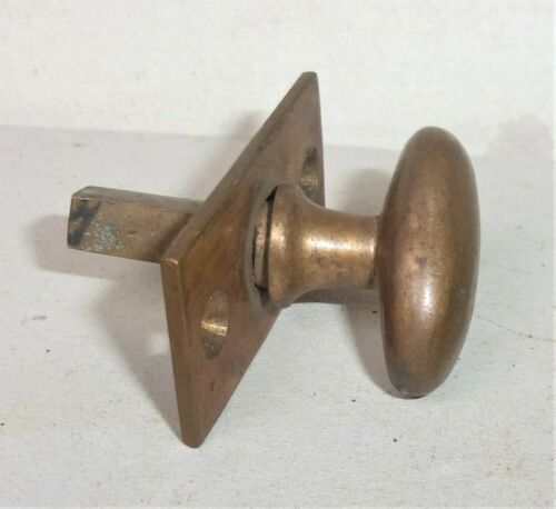 Antique Vintage Brass Cabinet Door Thumb Turn Knob w/ Plate