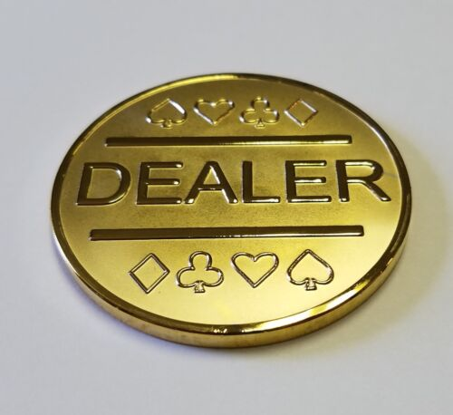 Gold Plated Metal Dealer Button in Case for Poker Games such as Texas Hold