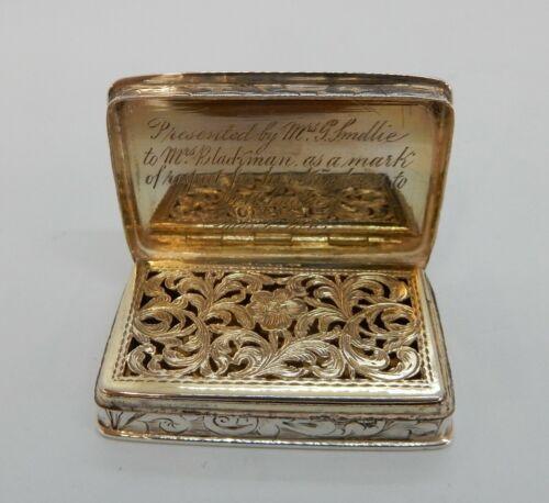 NATHANIEL MILLS Good Sized Solid SILVER Engraved VINAIGRETTE, Birmingham 1840