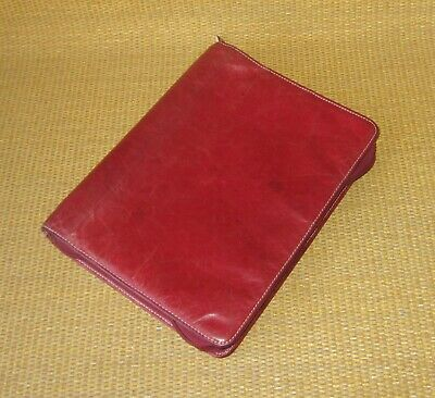 Classic Franklin Covey Red Unstructured Leather 1.125 Rings Plannerbinder