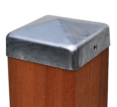 Pfostenkappe Zaunkappe feuerverzinkt Pyramide 9x9 cm, inkl. VA-Schrauben 91 mm