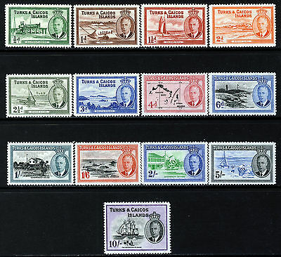 TURKS & CAICOS ISLANDS 1950 Complete Pictorial Set SG 221 to SG 233 MINT