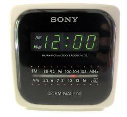 Sony Dream Machine Cube Alarm Clock AM/FM Radio Model ICF-C122 Green LED Tested