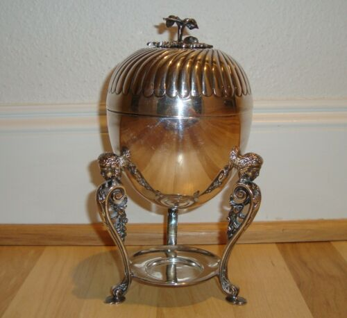 """Antique English Victorian EPNS Silverplate Atkin Brothers Figural 9"""" Egg Coddler"""
