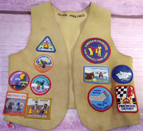 Leather Vest 21 Patches Anopi Nation YMCA Indian Princess Camp Chipotle Calif