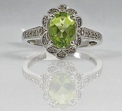 Genuine Peridot (1.07ct) Solid 14kt White Gold Diamond Halo Ring, Sz. 7, New
