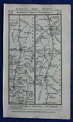 Original antique road map CAMBRIDGESHIRE, HUNTINGDON, STILTON, Paterson 1785