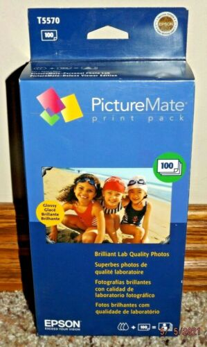 EPSON T5570 PICTUREMATE PRINT PACK 100 GLOSSY PHOTO PAPER & INK SEALED 10/2007