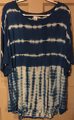 3X Blue & White Tie-Dye Stretch Knit T-Style Oversized Top By Design History EUC