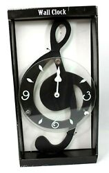 Music Note G-Clef Outline Black 13.5 x 7.5 Hanging Resin Wall Clock New in Box