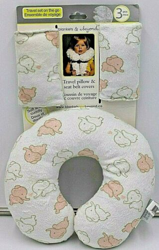 Blankets & Beyond Baby Car Travel Pillow Seat Belt Covers Set Elephants Pink NEW