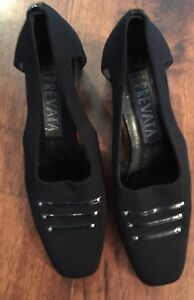 PREVATA-Italy-Black Patent Leather Wedge-Nylon-Cut Out Pump-Sz.7