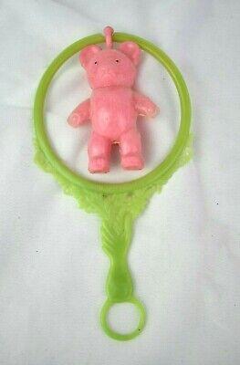 Vintage Kitsch 1950s 1960s Plastic Baby Rattle Pink Teddy Bear Super Retro!