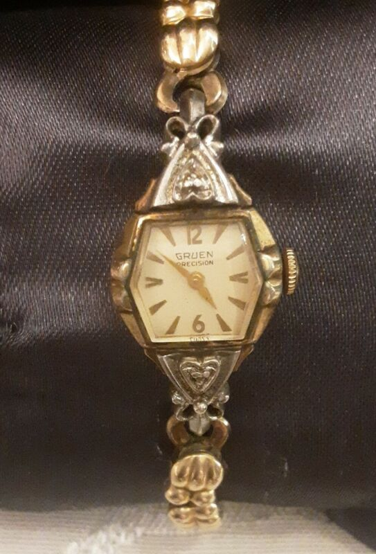 Vintage Gruen 10k RGP 2 Diamonds Ladies Stretch Watch Works.   #FS18