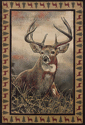Rustic Lodge Deer - Lodge Deer Cabin Rustic Buck Antler  Area Rug