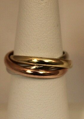 Color Rolling Band (Tri-Color 14k Gold Rolling Ring Style Wedding Band Ring )