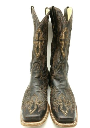 Corral, Brown, Distressed, Leather, Cross, Wings, Cowboy, Western, Boots, Mens, 12, D
