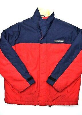 Tommy Hilfiger Mens Jacket Size L Polyester Filled Full Zip Coat Flag Puffer Red