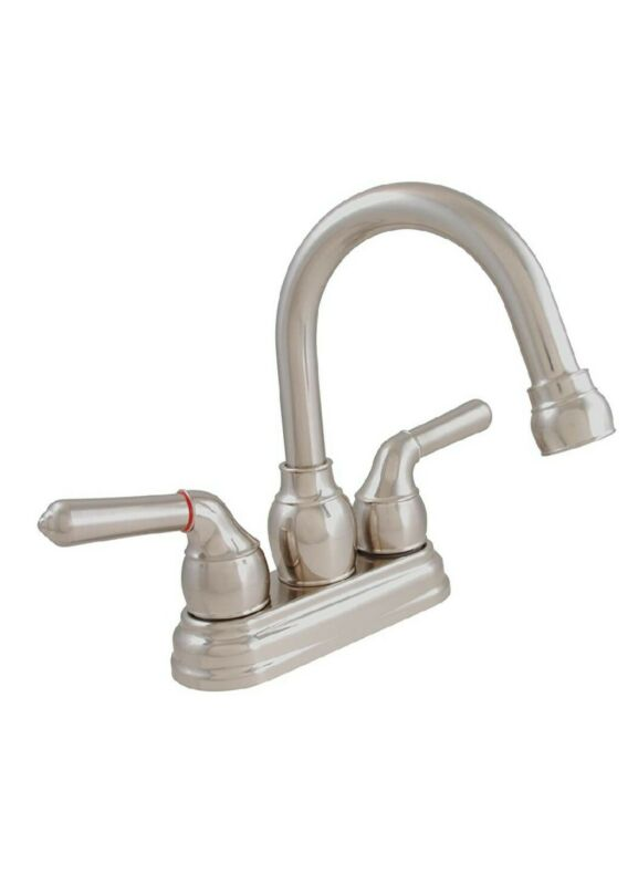 New Exquisite Dual Handle Gooseneck Swing Spout Bathroom Faucet Brushed Nickel