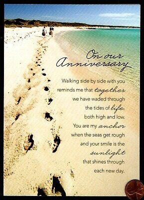 Anniversary Couple Walking Beach Footprints Ocean  -  Anniversary Greeting Card ()