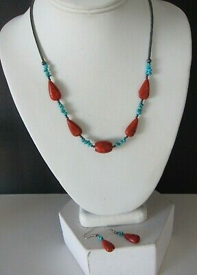 Southwestern Turquoise Coral Liquid Hematite Necklace Earring Set Hematite Necklace Earring