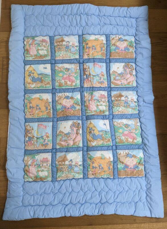 Vintage Handmade Baby Quilt 40x60 Nursery Rhymes Bo Peep Humpty Dumpty Etc...