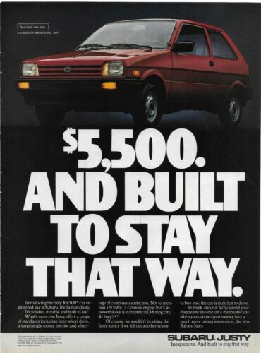 1987 Subaru Justy 3 Cyl $,500 Inexpensive Red Car  Original Color Photo Print Ad