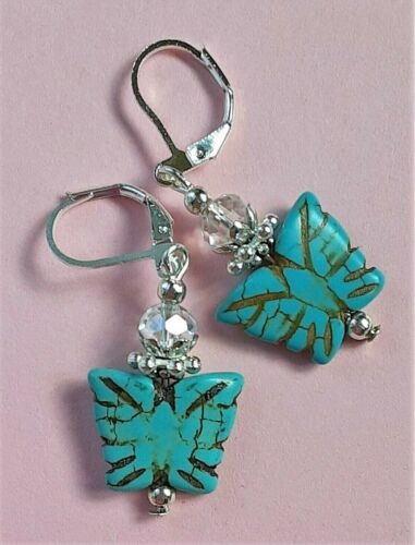 TURQUOISE butterfly AB Crystal earring SP LEVERBACK artisan