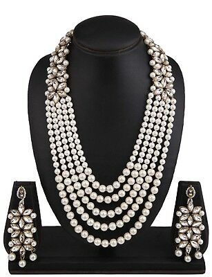 - Indian Gold Plated Pearl Necklace Bollywood Fashion Jewelry Earrings Set
