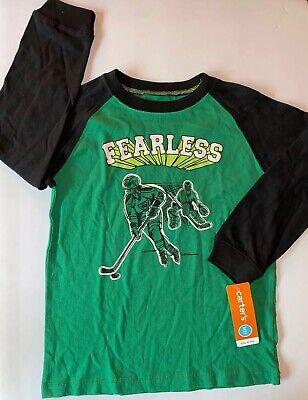 Carter's Boys $15 Fearless Sz 5 Hockey Players Shirt Long Sleeve NWT Green