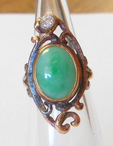 Vintage Lrg Cabochon Apple Jade & Mine Cut Diamond 10K Yellow Gold Ring Size 4