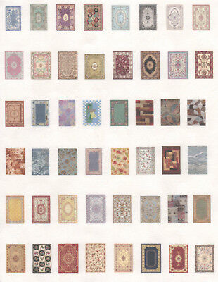 1:144 Scale Dollhouse Sheet of Area Rugs - 0002032