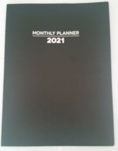 2021 Black Monthly Lg PLANNER Calendar Planning Guide 7x10 Contact Large