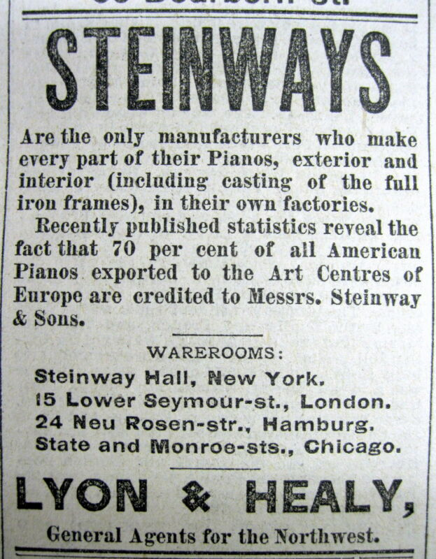 1882 Chicago ILLINOIS display newspaper with a front page ad for STEINWAY PIANO