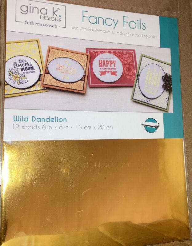 Wild Dandelion Fancy Foils Gina K Design NWT 12 Sheets 6 x 8 in.  000943180302