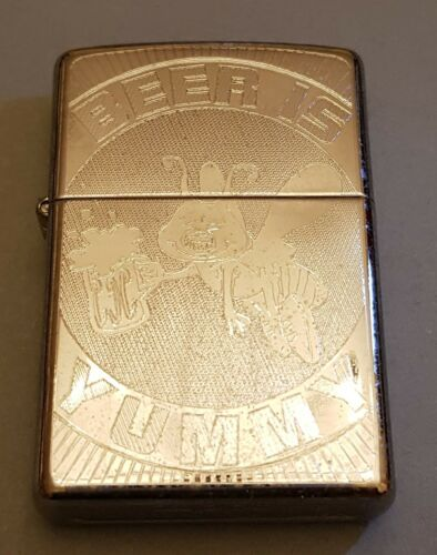 ZIPPO LIGHTER - BEER IS YUMMY - ETCHED POLISHED CHROME (24047)