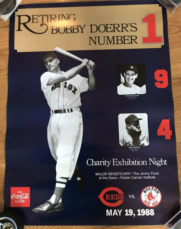 Bobby Doerr Retirement Night Poster/ Ted Williams/Joe Cronin Red Sox 1988 17X 22