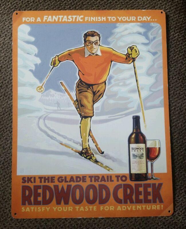 "VINTAGE Frei Bros RARE REDWOOD CREEK Wine Metal Sign Ski The Glade Trail 18""x24"""