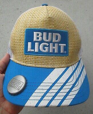 - BUD LIGHT EMBROIDERED BOTTLE OPENER STRAW MESH SNAPBACK OSFA HAT CAP, VERY GOOD!