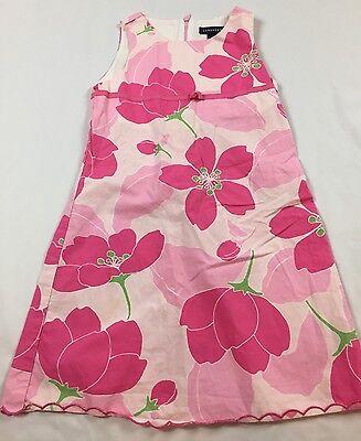 Lands End Girls Bow - Lands End Kids Girls Size 6X Pink Big Floral Bow Sleeveless 100% Cotton Dress