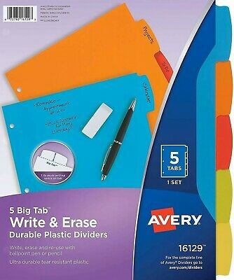 New Avery Big Tab Write Erase Plastic Dividers 5-tab Assorted Colors 16129