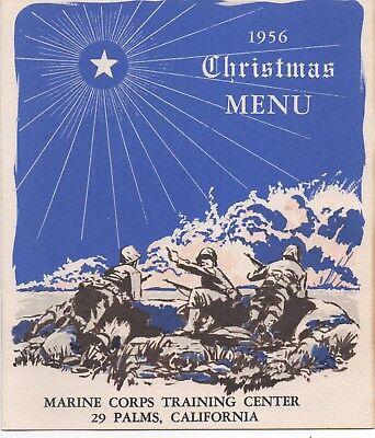 1956 Christmas Menu from the Marine Corps Training Center 29 Palms CA