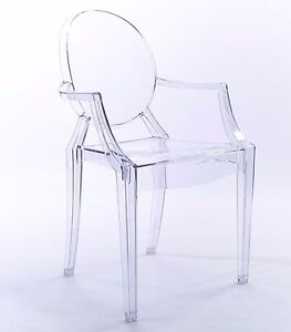 Clear Dining Ghost Chair Transparent Modern French Style Starck Louis Arm  Chair