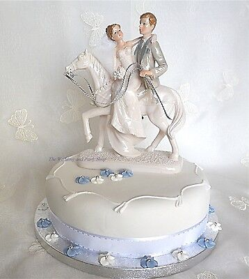 FABULOUS BRIDE AND GROOM ON HORSE LARGE WEDDING CAKE TOPPER RIDING EQUESTRIAN