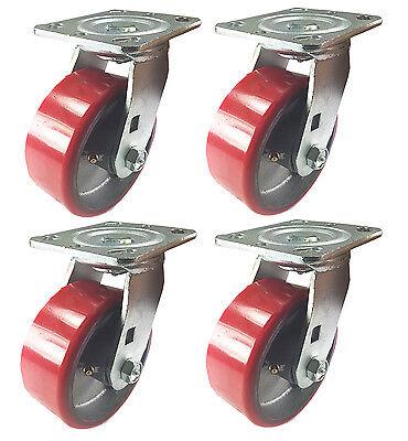 """4 Swivel Casters - 5"""" Heavy Duty Cast Iron Hub Core Poly Wheel Non Skid Mark"""