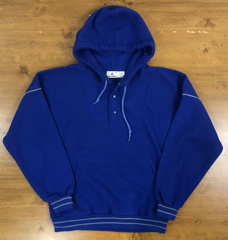 Vintage Jockey 80s 90s Pullover Fleece Hoodie Mens M Blue Kangaroo Pocket