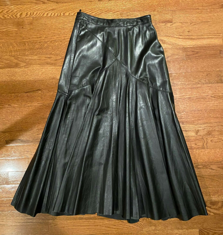 Vintage Comint Black Leather Skirt, 9/10, Long Trumpet Style, Lined, 1970