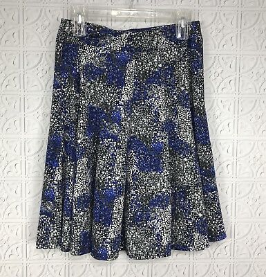 Sharagano Petite Flare Circle Skirt Blue Black Geometric Print Sz PS Small