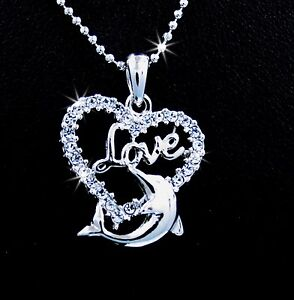 Love Dolphin Heart Shaped Silver Tone Crystal Pendant Chain Necklace