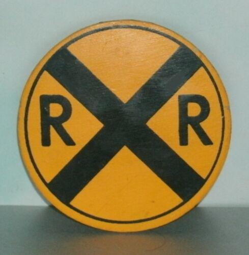 Wooden RR Train Railroad Crossing Refrigerator Magnet (3 Inch) Mini Road Sign